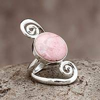 Rhodonite cocktail ring, 'Spiral Harmony' - Artisan Crafted Rhodonite Cocktail Ring