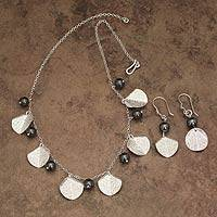 Hematite jewelry set, 'Fruit of Harmony' - Handcrafted Sterling Silver Jewelry Set with Hematite