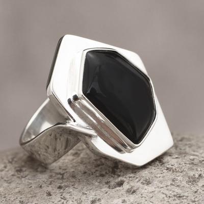 Black Obsidian Geometric Silver Cocktail Ring