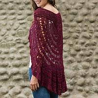 100% alpaca capelet, 'Symphony in Red' - Hand-crocheted Alpaca Capelet from Peru