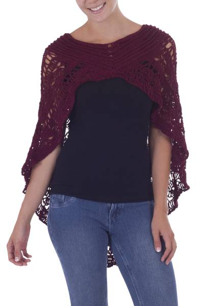 Hand-crocheted Alpaca Capelet from Peru