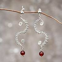 Carnelian dangle earrings, 'Seahorse' - Handmade 950 Silver Earrings with Carnelian