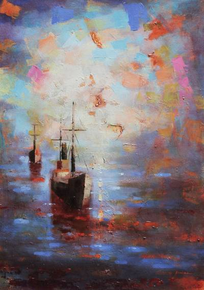 'Embarkations at Dusk' - Original Impressionist Painting Signed Fine Art