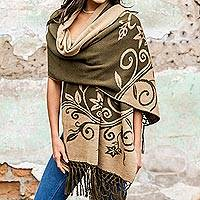 Alpaca blend reversible shawl, 'Floral Dreams' - Reversible Alpaca Blend Shawl in Beige and Dark Olive