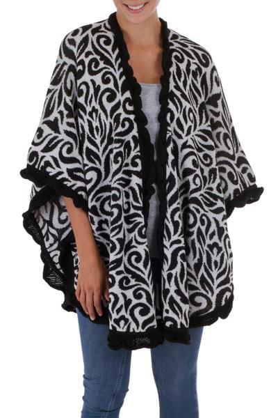 Soft Alpaca Blend Ruana Cloak in Black and White