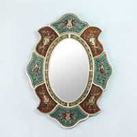 Reverse painted glass wall mirror, 'Aqua Phoenix' - Reverse Painted Glass Handcrafted Wall Mirror and Frame