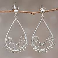 Silver dangle earrings, 'Andean Dew' - Handcrafted Andean 950 Silver Earrings