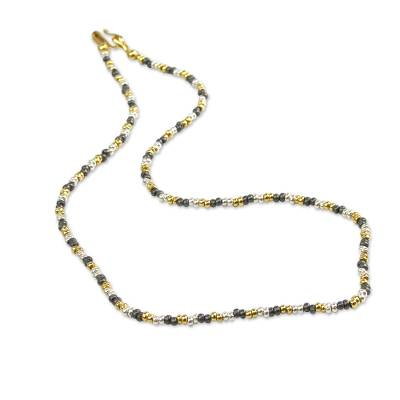 Hand Made Sterling Silver Beaded Necklace with 18k Gold