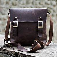 Men's leather messenger bag, 'Adventurer' - Dark Brown Leather Mens Messenger Bag