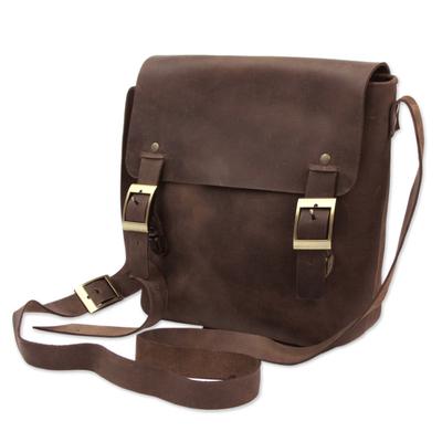 Men's leather messenger bag, 'Adventurer' - Dark Brown Leather Mens Messenger Bag