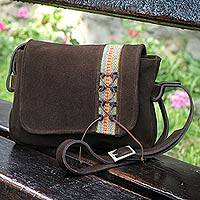 Leather messenger bag, 'Andean Earth' - Brown Leather Messenger Bag with Handwoven Wool