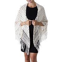 100% alpaca shawl, 'Ivory Hills' - Hand Crocheted Alpaca Wool Shawl