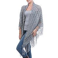 100% alpaca shawl, 'Grey Hills' - Hand Crocheted Grey Alpaca Wool Shawl