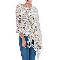 100% alpaca shawl, 'Highland Princess' - Long Ivory Alpaca Wool Shawl Crocheted by Hand