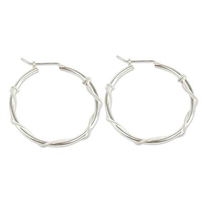 Modern Handmade Sterling Silver Hoop Earrings