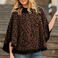 Alpaca blend poncho, 'Coffee Foliage' - Brown and Black Turtleneck Alpaca Blend Poncho with Lace