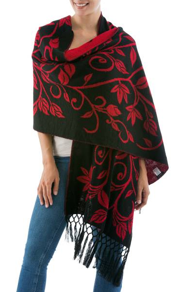 Reversible alpaca blend shawl, 'Scarlet Leaves' - Reversible Red and Black Alpaca Blend Shawl