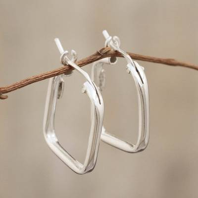 Sterling silver hoop earrings, 'Goddess of the Lakes' - Sterling Silver Squared Modern Hoop Earrings