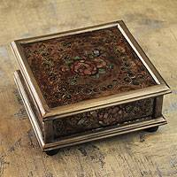 Reverse painted glass box, 'Coffee Blossom' - Andean Reverse Painted Glass Box in Brown