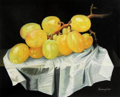 'The Flavor of Desire' - Realist Painting of Ripe Yellow Grapes