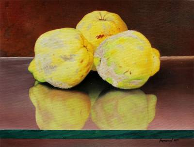 'Soft Reflection' - Realist Painting of Three Yellow Guavas