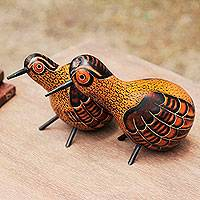 Mate gourd figurines, 'Peruvian Partridges' (pair) - Mate Gourd Bird Figurines (Pair)