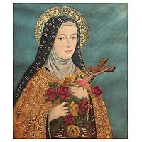 'Saint Therese of Lisieux' - Religious Colonial Replica Painting