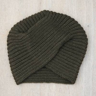 Alpaca blend hat, 'Olive Turban' - Alpaca Blend Olive Green Turban Hat from Peru