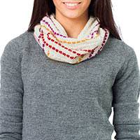 100% alpaca neck warmer, 'Ivory Confetti' - White Alpaca Knit Neck Warmer from Peru