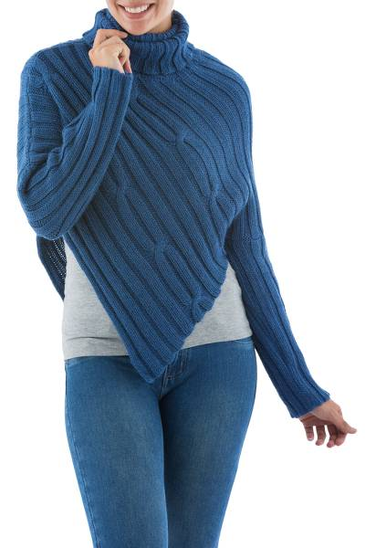 Blue Alpaca Blend Sweater Poncho from Peru