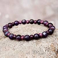 Amethyst and ceramic stretch bracelet, 'Andean Berries' - Handmade Amethyst Stretch Bracelet