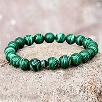 Malachite and ceramic stretch bracelet,