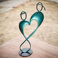 Steel and cotton sculpture, 'Infinite Love' - Heart Shaped Blue Metal Sculpture from Peru