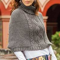 Alpaca blend cropped poncho, 'Andean Dusk' - Unique Short Alpaca Blend Grey Cropped Poncho