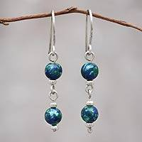 Azurite dangle earrings, 'Andean Planet' - Andes Silver and Azurite Earrings