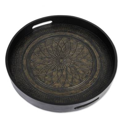 Circular Tooled Leather Serving Tray