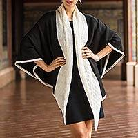 100% alpaca ruana cloak, 'Barranco Eclipse' - Alpaca Wool Black and White Ruana
