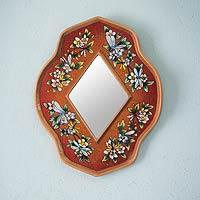 Reverse painted glass mirror, 'Orange Summer Garden' - Peruvian Floral Reverse Painted Mirror
