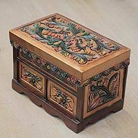 Cedar and leather jewelry box, 'Lovebirds' - Bird Theme Hand Tooled Polychrome Leather Jewelry Box