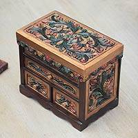 Cedar and leather jewelry box, 'Songbirds' - Colorful Bird Theme Hand Tooled Leather jewellery Box