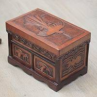 Cedar and leather jewelry box, 'Nazca Mystery' - Nazca Theme Hand Tooled Brown Leather Jewelry Box