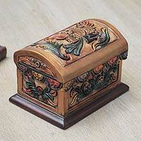 Cedar and leather jewelry box, 'Golden Condor' - Tooled Leather Condor Jewelry Box