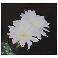 'A Light Amid the Darkness' - White Cactus Flower Signed Painting