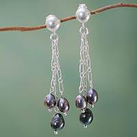 Cultured pearl waterfall earrings, 'Lilac Love'