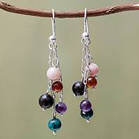 Multigem waterfall earrings, 'My Chosen One' - Colorful Gemstone Earrings from Peru
