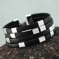Leather wristband bracelet, 'Code Black' - Handcrafted Leather and Sterling Silver Wristband Bracelet