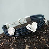 Leather heart wristband bracelet,
