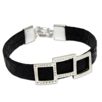 Handmade Leather and Sterling Silver Wristband Bracelet