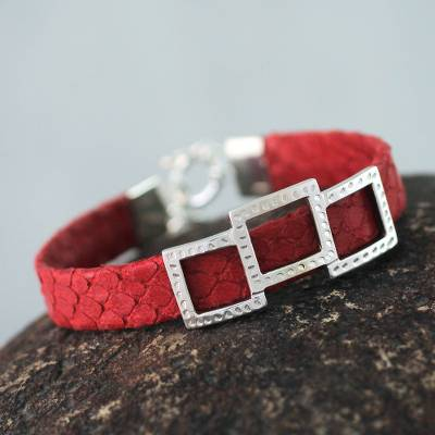Leather wristband bracelet, 'Complex Red' - Red Leather and Sterling Silver Wristband Bracelet