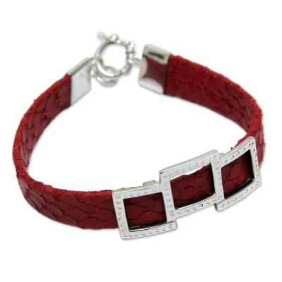 Red Leather and Sterling Silver Wristband Bracelet